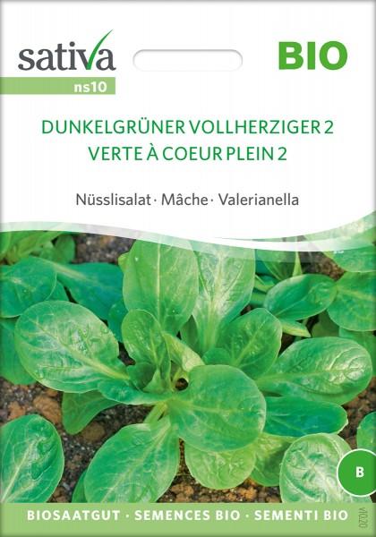 Feldsalat, Ackersalat, 'Dunkelgrüner Vollherziger' Bio Samen